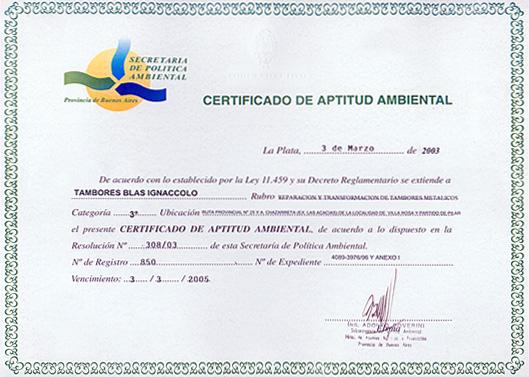 Certificado Aptitud Ambiental Myhura Certificado de Aptitud